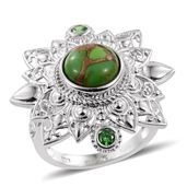 KARIS Collection - Mojave Green Turquoise, Simulated Green Diamond Platinum Bond Brass Ring (Size 7.0) TGW 4.45 cts.