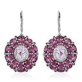 Urukun Kunzite, Orissa Rhodolite Garnet, White Zircon Platinum Over Sterling Silver Earrings TGW 14.60 cts.