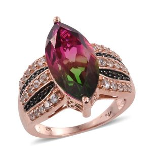 Watermelon Quartz, White Zircon, Thai Black Spinel 14K RG Over Sterling Silver Ring (Size 8.0) TGW 10.43 cts.