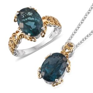 Blue Fluorite 14K YG and Platinum Over Sterling Silver Ring (Size 7) and Pendant With Chain (20 in) TGW 13.44 cts.