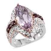 Rose De France Amethyst, Orissa Rhodolite Garnet 14K RG and Platinum Over Sterling Silver Ring (Size 7.0) TGW 8.570 cts.