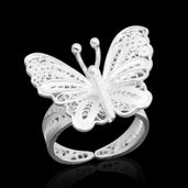 Bali Legacy Collection Sterling Silver Butterfly Ring (Size 6.0)
