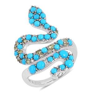 Arizona Sleeping Beauty Turquoise, Hebei Peridot Sterling Silver Elongated Snake Ring (Size 7.0) TGW 1.250 cts.