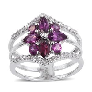 Purple Garnet, White Zircon Platinum Over Sterling Silver Triple Band Ring (Size 5.0) TGW 2.14 cts.