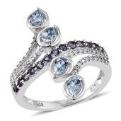 Espirito Santo Aquamarine, Catalina Iolite, Cambodian Zircon Platinum Over Sterling Silver Elongated Bypass Ring (Size 8.0) TGW 1.78 cts.