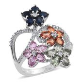 Multi Sapphire, White Zircon Platinum Over Sterling Silver Openwork Floral Elongated Ring (Size 10.0) TGW 5.500 cts.