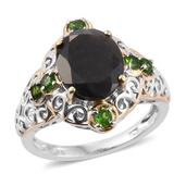 Natural Silver Sapphire, Russian Diopside 14K YG and Platinum Over Sterling Silver Openwork Ring (Size 8.0) TGW 7.850 cts.