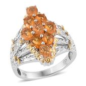Salamanca Fire Opal 14K YG and Platinum Over Sterling Silver Split Ring (Size 7.0) TGW 2.14 cts.
