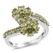 Arizona Peridot Platinum Over Sterling Silver Floral Bypass Ring (Size 6.0) TGW 2.920 cts.