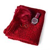 Red Diamond Pattern 100% Acrylic Kimono (35.5x18.5 in), Pom Pom Goldtone Keychain and STRADA White Austrian Crystal Japanese Movement Watch  Total Gem Stone Weight 2.701 Carat