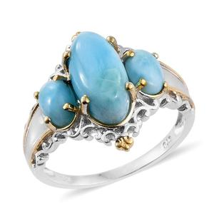 Larimar 14K YG and Platinum Over Sterling Silver Openwork Trilogy Ring (Size 7.0) TGW 6.720 cts.