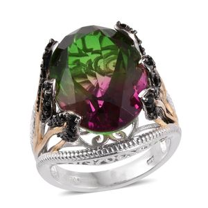 Watermelon Quartz, Thai Black Spinel 14K YG and Platinum Over Sterling Silver Ring (Size 9.0) TGW 20.60 cts.