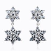 Espirito Santo Aquamarine, Cambodian Zircon Platinum Over Sterling Silver Star Dangle Earrings TGW 3.78 cts.