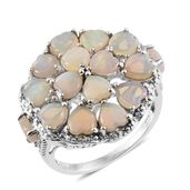 Australian White Opal, White Topaz Platinum Over Sterling Silver Openwork Cluster Heart Ring (Size 8.0) TGW 3.81 cts.