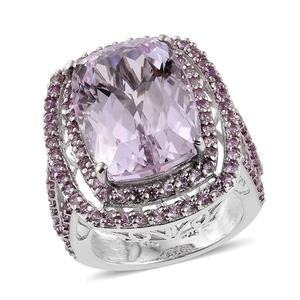 Urukun Kunzite, Madagascar Pink Sapphire Platinum Over Sterling Silver Ring (Size 7.0) TGW 22.40 cts.