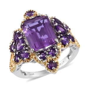 Lavender Alexite, Amethyst 14K YG and Platinum Over Sterling Silver Ring (Size 8.0) TGW 8.21 cts.