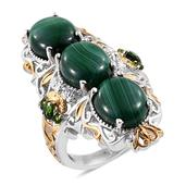 African Malachite, Russian Diopside 14K YG and Platinum Over Sterling Silver Elongated Ring (Size 8.0) TGW 22.810 cts.