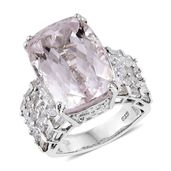 Urukun Kunzite, White Topaz Platinum Over Sterling Silver Ring (Size 8.0) TGW 24.00 cts.