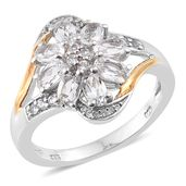 Brazilian Goshenite, Cambodian Zircon 14K YG and Platinum Over Sterling Silver Split Ring (Size 9.0) TGW 1.71 cts.