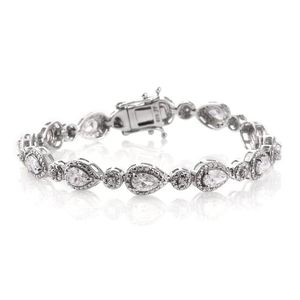 J Francis - Platinum Over Sterling Silver Bracelet Made with SWAROVSKI ZIRCONIA (6.50 In) TGW 7.98 cts.