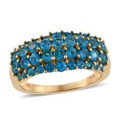 Malgache Neon Apatite 14K YG Over Sterling Silver Cluster Ring (Size 7.0) TGW 2.68 cts.