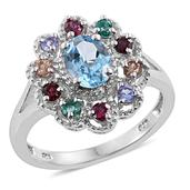 Marambaia Topaz, Multi Gemstone Platinum Over Sterling Silver Split Ring (Size 9.0) TGW 2.56 cts.