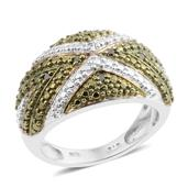 KARIS Collection Diamond Green Platinum Bond Brass Ring (Size 6.5) , TDiaWt 0.05 cts, TGW 0.050 cts.