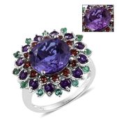 Lavender Alexite, Multi Gemstone Platinum Over Sterling Silver Ring (Size 7.0) TGW 8.170 cts.
