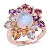 Sri Lankan Rainbow Moonstone, Multi Gemstone 14K RG Over Sterling Silver Rotating Floral Ring (Size 10.0) TGW 7.49 cts.