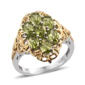 Arizona Peridot 14K YG and Platinum Over Sterling Silver Ring (Size 5.0) TGW 3.560 cts.