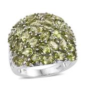 Arizona Peridot Platinum Over Sterling Silver Cluster Ring (Size 5.0) TGW 8.600 cts.