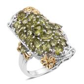 Arizona Peridot 14K YG and Platinum Over Sterling Silver Elongated Ring (Size 7.0) TGW 5.22 cts.