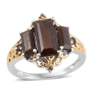 Chocolate Sapphire, Jenipapo Andalusite 14K YG and Platinum Over Sterling Silver Ring (Size 6.0) TGW 6.40 cts.