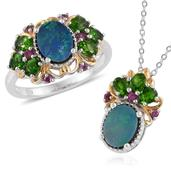 Australian Boulder Opal, Russian Diopside, Orissa Rhodolite Garnet 14K YG and Platinum Over Sterling Silver Ring (Size 8) and Pendant With Chain (20 in) TGW 5.265 cts.