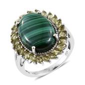 African Malachite, Hebei Peridot Platinum Over Sterling Silver Split Statement Ring (Size 6.0) TGW 18.50 cts.