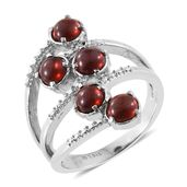 Mozambique Garnet Stainless Steel 5 Stone Ring (Size 6.0) TGW 2.95 cts.