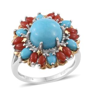 Arizona Sleeping Beauty Turquoise, Mediterranean Coral 14K YG and Platinum Over Sterling Silver Ring (Size 6.0) TGW 6.000 cts.