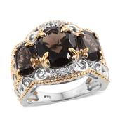 KARIS Collection - Brazilian Smoky Quartz, White Topaz ION Plated 18K YG and Platinum Bond Brass Ring (Size 6.0) TGW 7.930 cts.