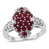 KARIS Collection - Platinum Bond Brass Ring (Size 7.0) Made with SWAROVSKI Red Crystal TGW 1.000 cts.