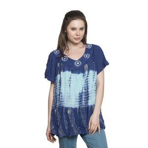 Indigo Collection - Navy Blue and Charcoal Gray 100% Viscose Rayon Crepe Tie-dye V-Neck Blouse or Beach Cover-up (Free Size)