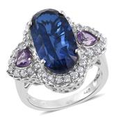 Brazilian Azul Quartz, Bolivian Amethyst, Cambodian Zircon Platinum Over Sterling Silver Statement Ring (Size 10.0) TGW 13.20 cts.