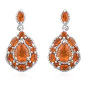 Salamanca Fire Opal Platinum Over Sterling Silver Earrings TGW 1.84 cts.