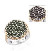 Bekily Color Change Garnet 14K YG and Platinum Over Sterling Silver Engraved Cluster Ring (Size 6.0) TGW 3.95 cts.