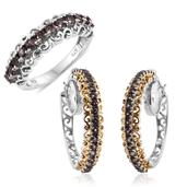 Bekily Color Change Garnet 14K YG and Platinum Over Sterling Silver Hoop Earrings and Ring (Size 5) TGW 4.86 cts.