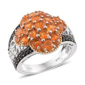 Salamanca Fire Opal, Thai Black Spinel 14K YG and Platinum Over Sterling Silver Ring (Size 5.0) TGW 2.66 cts.