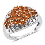 Salamanca Fire Opal Platinum Over Sterling Silver Openwork Cluster Ring (Size 7.0) TGW 1.12 cts.
