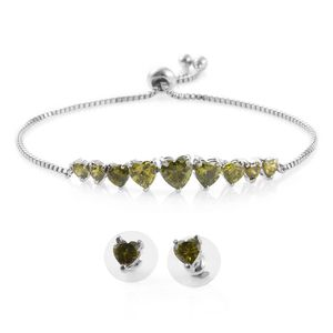 Simulated Green Diamond Stainless Steel Heart's Array Bracelet (Adjustable) and Stud Earrings TGW 11.40 cts.