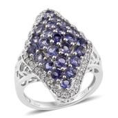 Catalina Iolite, Cambodian Zircon Platinum Over Sterling Silver Cluster Ring (Size 7.0) TGW 3.02 cts.
