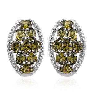 KARIS Collection - Simulated Peridot Diamond Platinum Bond Brass Earrings TGW 5.060 Cts.