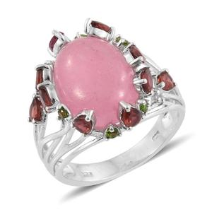 Burmese Pink Jade, Multi Gemstone Platinum Over Sterling Silver Ring (Size 8.0) TGW 14.25 cts.